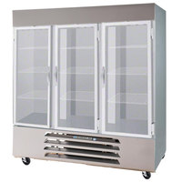 Beverage-Air FB72-5G 75 inch Vista Series Three Section Glass Door Reach-In Freezer - 72 cu. ft.
