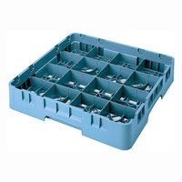 Cambro 16S434414 Camrack 5 1/4 inch High Teal 16 Compartment Glass Rack