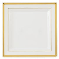 Fineline Silver Splendor 5507-BO 7 1/4 inch Bone / Ivory Plastic Square Plate with Gold Bands - 10 / Pack