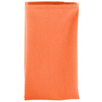 20 inch x 20 inch Orange 100% Polyester Hemmed Cloth Napkin - 12/Pack