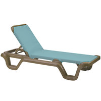 Grosfillex 99414550 / US414550 Marina Bronze Mist / Spa Blue Stacking Adjustable Resin Sling Chaise