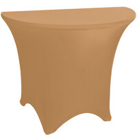 Marko EMB5026HR72049 Embrace 72 inch Half Round Sandalwood Spandex Table Cover