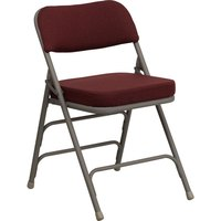 Burgundy Metal Folding Chair with 2 1/2 inch Padded Fabric Seat