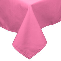 54 inch x 54 inch Hot Pink 100% Polyester Hemmed Cloth Table Cover