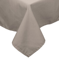 54 inch x 54 inch Beige 100% Polyester Hemmed Cloth Table Cover
