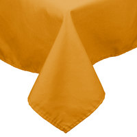 54 inch x 72 inch Gold 100% Polyester Hemmed Cloth Table Cover