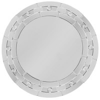 The Jay Companies 13 inch Round Blocked Dot Glass Mirror Charger Plate