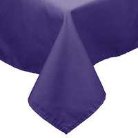54 inch x 120 inch Purple 100% Polyester Hemmed Cloth Table Cover