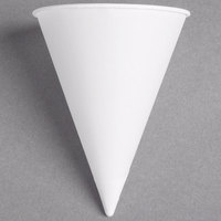 Dart Solo 8RB-2050 Bare Eco-Forward 8 oz. White Rolled Rim Paper Cone Cup with Poly Bag Packaging - 250 / Pack