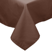 64 inch x 110 inch Brown 100% Polyester Hemmed Cloth Table Cover