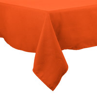 72 inch x 120 inch Orange 100% Polyester Hemmed Cloth Table Cover