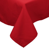 54 inch x 96 inch Red 100% Polyester Hemmed Cloth Table Cover