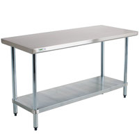 Regency 18 Gauge 24 inch x 60 inch 304 Stainless Steel Commercial Work Table with Undershelf