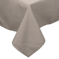 72 inch x 120 inch Beige 100% Polyester Hemmed Cloth Table Cover