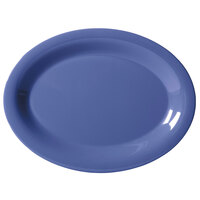 GET OP-120-PB Diamond Mardi Gras 12 inch x 9 inch Peacock Blue Oval Melamine Platter - 12/Case