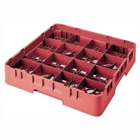 Cambro 16S534163 Camrack 6 1/8 inch High Red 16 Compartment Glass Rack