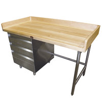 Advance Tabco BST-304 Wood Top Baker's Table with Stainless Steel Base and Drawers - 30 inch x 48 inch