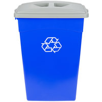 Continental 23 Gallon Blue Wall Hugger Recycling Trash Can and Lid Set