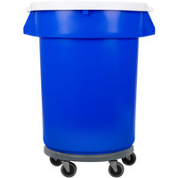 32 Gallon Blue Trash Can, Lid, and Dolly Kit