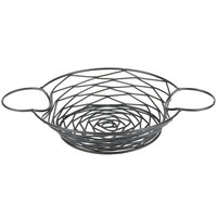 Tablecraft BK171182 Artisan Round Black Metal Basket with Ramekin Holders - 11 inch x 8 inch x 2 inch