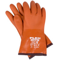 Large 12 inch Red Freezer / Frozen Food Textured PVC Gloves