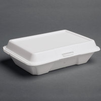 Dart Solo 206HT1R 9 inch x 6 inch x 3 inch White Foam Shallow Rectangular Take Out Container with Perforated Hinged Lid - 200/Case