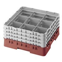 Cambro 9S638416 Cranberry Camrack 9 Compartment 6 7/8 inch Glass Rack