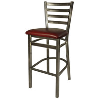 BFM Seating 2160BBUV-CL Lima Steel Bar Height Chair with 2 inch Burgundy Vinyl Seat and Clear Coat Frame