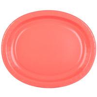 Creative Converting 433146 12 inch x 10 inch Coral Orange Oval Paper Platter - 96/Case