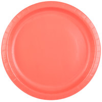 Creative Converting 503146B 10 inch Coral Orange Round Paper Plate - 240/Case