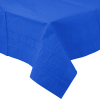 Creative Converting 713147B 54 inch x 108 inch Cobalt Blue Tissue / Poly Table Cover - 24/Case