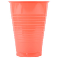 Creative Converting 28314671 12 oz. Coral Orange Plastic Cup - 240/Case