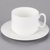 10 Strawberry Street B4521B4523 Izabel Lam Pond 8 oz. White Bone China Coffee Cup and Saucer Set   - 18/Case