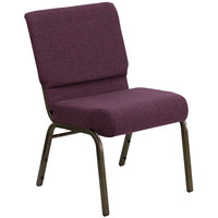 Plum 21 inch Extra Wide Church Chair with Gold Vein Frame