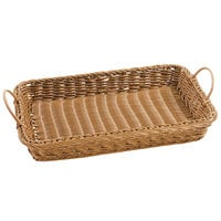 GET WB-1524-H Designer Polyweave Plastic Rectangular Basket with Handles Honey - 18 inch x 12 1/4 inch x 2 1/2 inch - 12 / Pack
