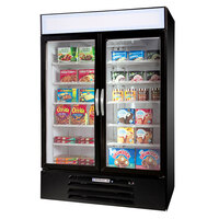 Beverage-Air MMF44-1-B-LED MarketMax 47 inch Black Two Section Glass Door Merchandiser Freezer - 45 cu. ft.