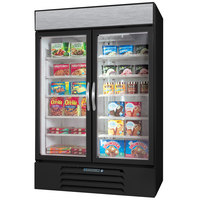 Beverage-Air MMF44-1-B-LED MarketMax 47 inch Black Two Section Glass Door Merchandiser Freezer - 45 cu. ft.