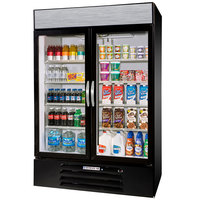 Beverage-Air MMR44-1-B-LED MarketMax 47 inch Black Two Section Glass Door Merchandiser Refrigerator - 45 cu. ft.