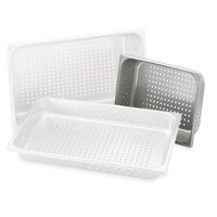Vollrath 30223 Super Pan V 1/2 Size Anti-Jam Stainless Steel Perforated Steam Table / Hotel Pan - 2 1/2 inch Deep
