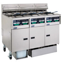 Pitco SELV14C-3/FDP Solstice 90 lb. Reduced Oil Volume / High Output 3 Unit Electric Fryer System with Intellifry Computer Controls and Push Button Top Off - 51 kW