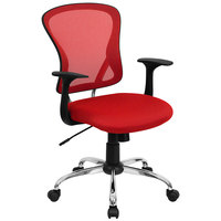 Mid-Back Red Mesh Office Chair with Arms, Padded Seat, and Chrome Base