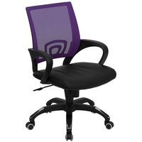 Mid-Back Computer / Office Chair with Purple Mesh Back and Black Leather Seat