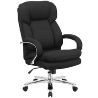 High-Back Black Fabric Intensive-Use Multi-Shift Swivel Office Chair with Headrest and Loop Arms
