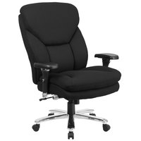 High-Back Black Fabric Intensive-Use Multi-Shift Swivel Office Chair with Lumbar Support Knob and Padded Arms