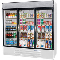 Beverage-Air MMR72-1-W-EL-LED MarketMax 75 inch White Three Section Glass Door Merchandiser Refrigerator with Electronic Lock - 72 cu. ft.