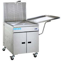 Pitco 34FF-M 210-235 lb. High Capacity Food and Fish Gas Floor Fryer with Mechanical Thermostat Controls and Drainboard - 190,000 BTU