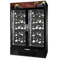 Beverage-Air MMRR49-1-B-LED MarketMax 52 inch Black Two Section Dual Temperature Glass Door Wine Merchandiser - 49 Cu. Ft.
