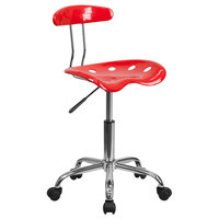 Red Office / Task Chair with Tractor Seat and Chrome Frame