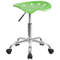 Spicy Lime Green Office Stool with Tractor Seat and Chrome Frame