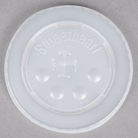 Dart Solo L16BL-0100 12-21 oz. Translucent Flat Plastic Lid with Straw Slot and Identification Buttons - 125/Pack